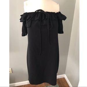 Zara Black Off The Shoulder Dress Short Sleeve L